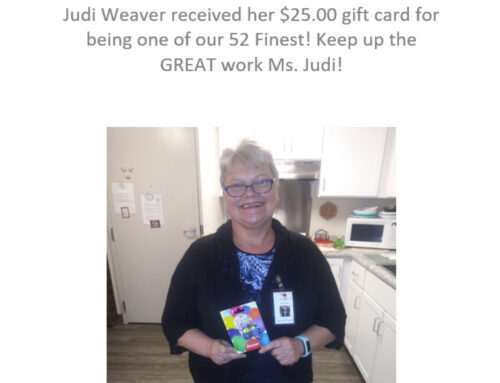 Judi Weaver received her $25.00 Get Go card!