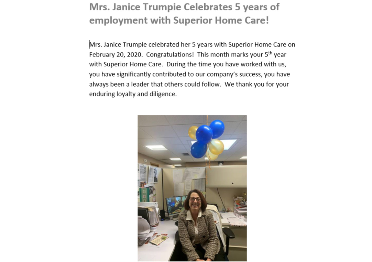 Home Care in Pittsburgh PA: Work Anniversary
