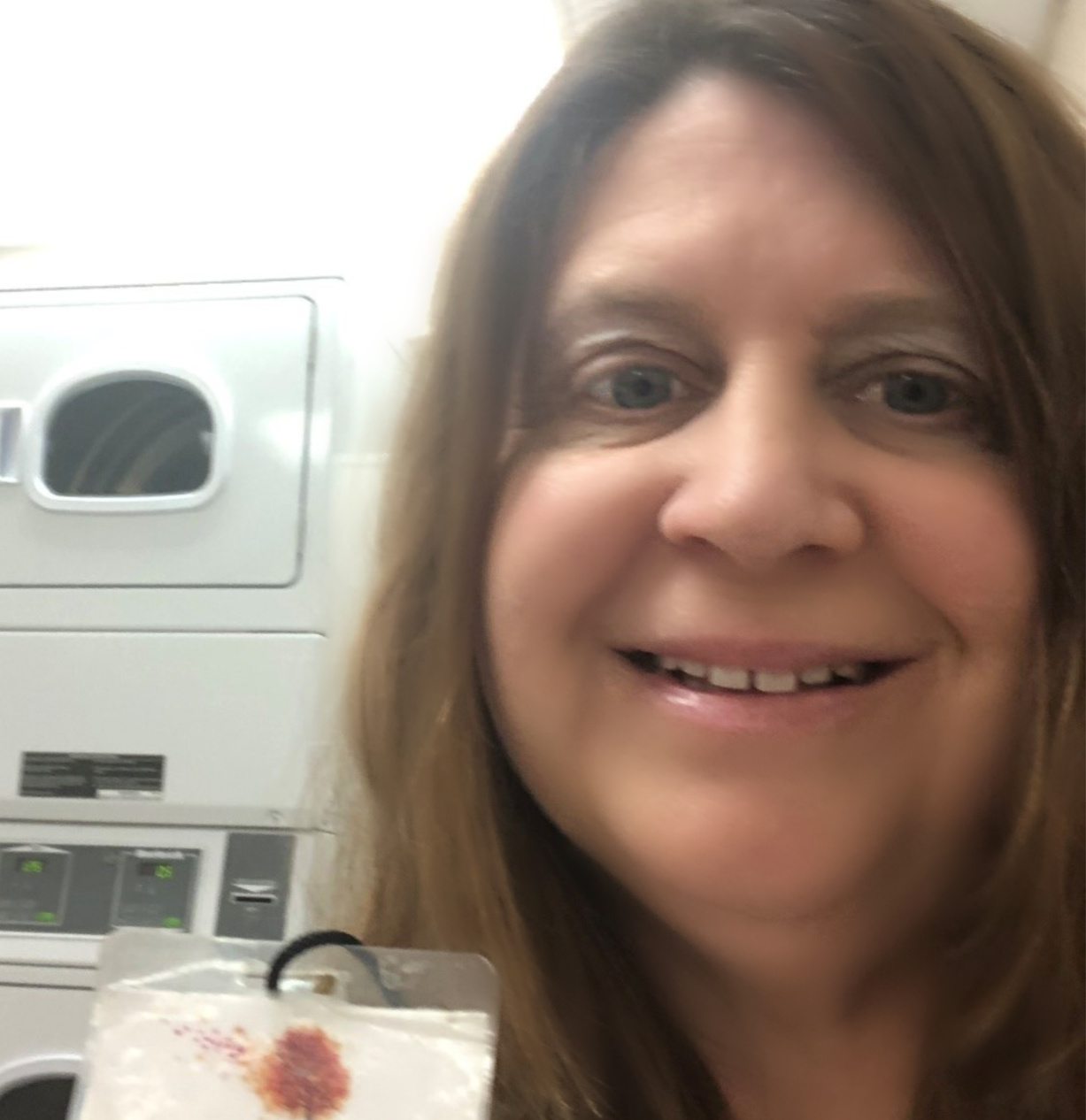 Tracy Savona is doing laundry for her client